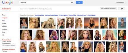 """Búsqueda en Google Images de """"Shakira"""""""
