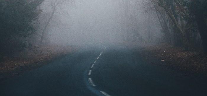 curva en niebla